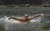 Председатель правительства РФ Владимир Путин на отдыхе в Республике Тыва.