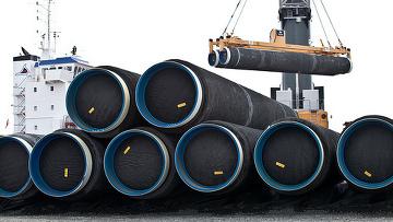 Трубы для строительсва газопровода Норд Стрим (Nord Stream) прибыли в Швецию