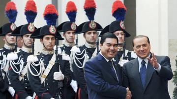 Президент Туркменистана Гурбангулы Бердымухаммедов и премьер-министр Италии Сильвио Берлускони