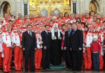 Церемония проводов олимпийцев в Ванкувер в Храме Христа Спасителя