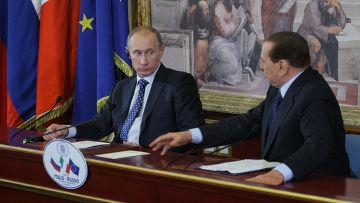 Пресс-конференция Владимира Путина и Сильвио Берлускони
