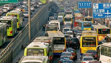 Пробки на дорогах Китай Пекин