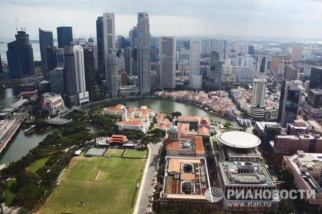 "Вид на башни ""Сити"" и здания старого и нового парламента"
