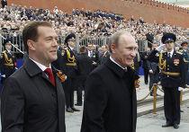 Д. Медведев и В. Путин на параде Победы на Красной площади