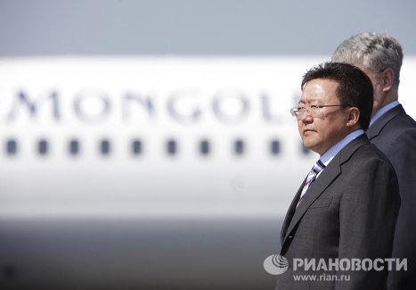 Прибытие в Москву президента Монголии Цахиагийна Элбэгдоржа
