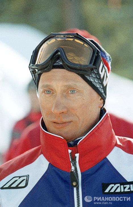 В.Путин во время зимнего отдыха