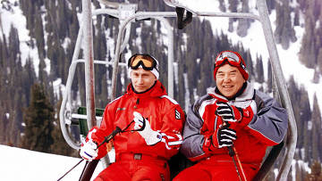 В.Путин и Н.Назарбаев во время зимнего отдыха