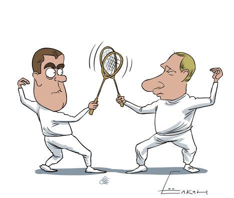 Медведев показал в видеоблоге, как играет в бадминтон с Путиным