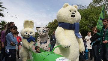 Талисманы Олимпиады в Сочи-2014 Зайка, Леопард и Белый мишка