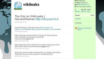 Скриншот страницы  WikiLeaks в Twitter