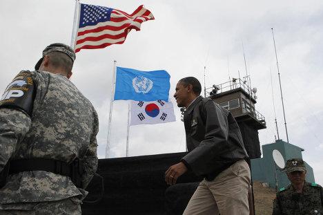 Барак Обама посетил военную базу