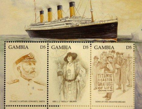 """Памятные марки, выпущенные в Гамбии по случаю годовщины катастрофы """"Титаника"""""""