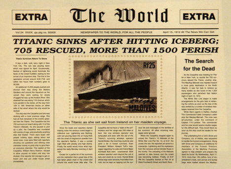 """Памятная марка, выпущенная на Мальдивах по случаю годовщины катастрофы """"Титаника"""""""