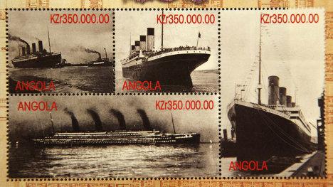 """Памятные марки, выпущенные в Анголе по случаю годовщины катастрофы """"Титаника"""""""
