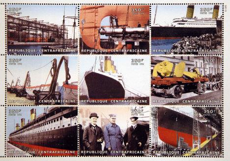 """Памятные марки, выпущенные в Центральноафриканской Республике по случаю годовщины катастрофы """"Титаника"""""""