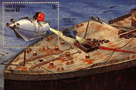 """Памятная марка, выпущенная на Терксе и Кайкосе по случаю годовщины катастрофы """"Титаника"""""""