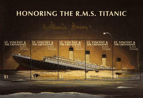 """Памятные марки, выпущенные на Сент-Винсенте и Гренадинах по случаю годовщины катастрофы """"Титаника"""""""