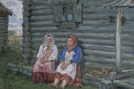 Картина неизвестного художника «На завалинке»