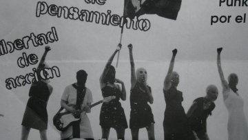 Листовка, которую распространяли участники акции в поддержку задержанных участниц группы Pussy Riot в Мехико
