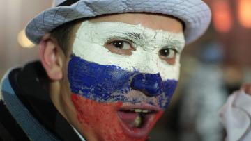 Российские болельщики после матча плей-офф: Россия - Словения