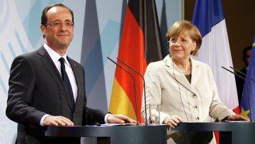 Ангела Меркель и Франсуа Олланд впервые встретились в Берлине
