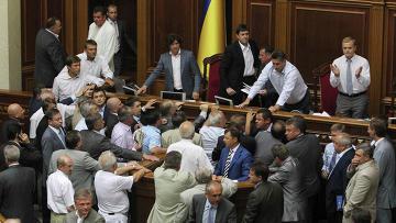 Ситуация на голосовании по законопроекту о русском языке на заседании парламента Украины