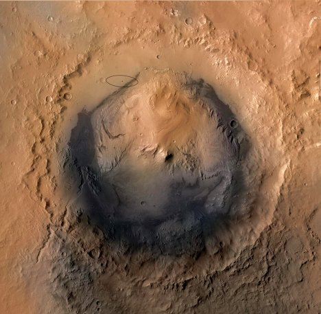 Марсоход Curiosity успешно совершил посадку у кратера Гейла на Марсе