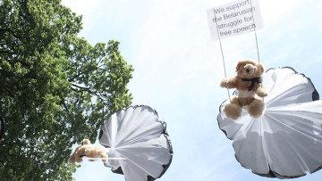 Плюшевые медведи с лозунгами в поддержку защиты свободы слова