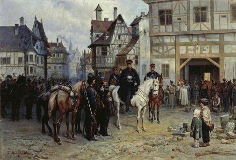 Картина Богдана Виллевальде «Блюхер и казаки в Бауцене», 1885 г.