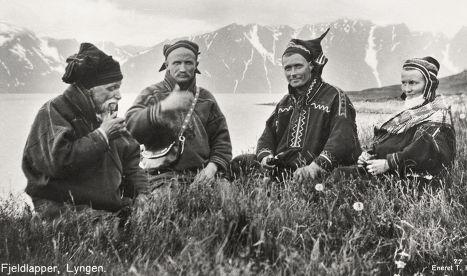 Группа саами в горах Норвегии, 1928 г.