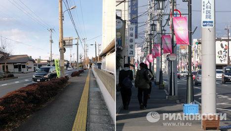 Фукусима, Минамисома, 2012 год (слева) / 2013 год (справа)