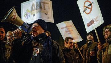 Акция протеста у здания парламента Кипра в Никосии