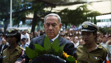 Биньямин Нетаньяху возлагает венок в День памяти сограждан, павших в боях или погибших в результате враждебных действий