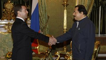 Президент России Дмитрий Медведев и президент Республики Никарагуа Даниэль Ортега Сааведра