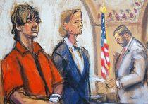 Джахар Царнаев в зале суда в Бостоне
