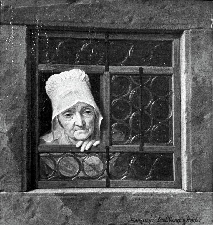 """Картина """"Старуха в окне"""". Художник Иозеф Гауцингер"""