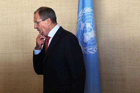 Сергей Лавров на заседании Генеральной Ассамблеи ООН в Нью-Йорке