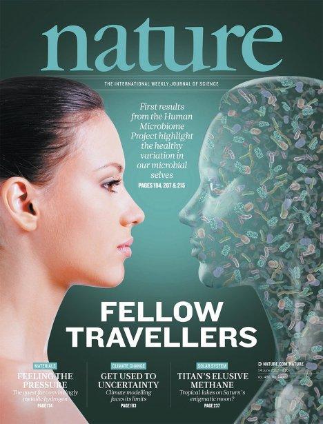 """Обложка номера журнала Nature, в котором опубликованы результаты работы проекта """"Микробиом человека"""""""