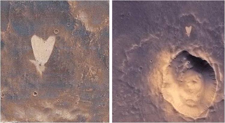 Сердце, обнаруженное на поверхности Марса