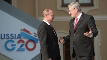 Владимир Путин и премьер-министр Канады Стивен Харпер