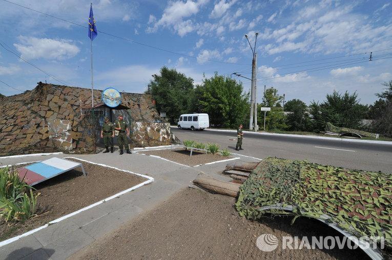Блок-пост российских миротворцев на въезде в город Бендеры. Архивное фото