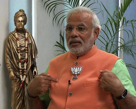 Кандидат на пост премьер-министра от Бхаратия джаната парти (БДП) Нарендра Мори