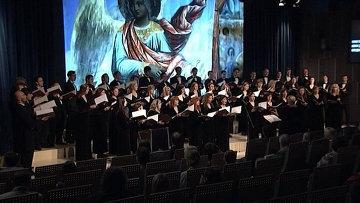 Стоп-кадр видео выступления Синодального хора
