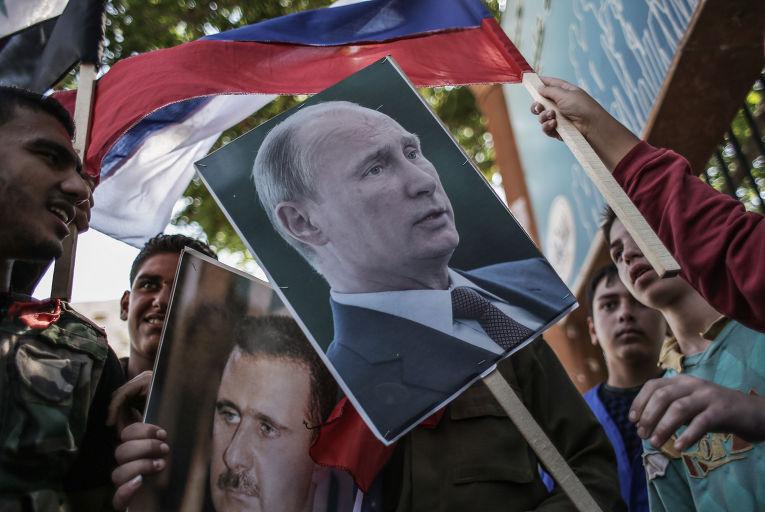 Митинг в поддержку Б. Асада и В. Путина в Сирии