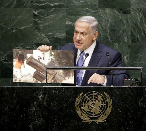 Премьер-министр Израиля Биньямин Нетаньяху выступает на 69-й сессии Генассамблеи ООН