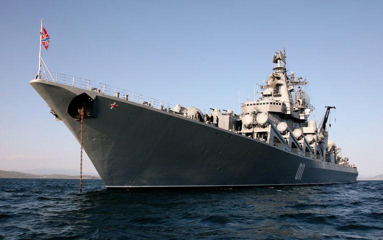 Контрольный выход в море гвардейского ракетного крейсера «Варяг» Тихоокеанского флота для подтверждения боевой готовности