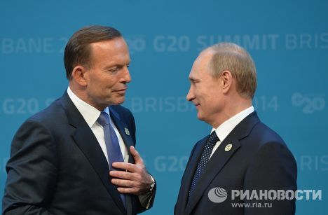 Владимир Путин и премьер-министр Австралии Тони Эббот перед началом саммита «Группы двадцати»