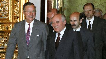 Горбачев и Буш перед началом советско-американских переговоров