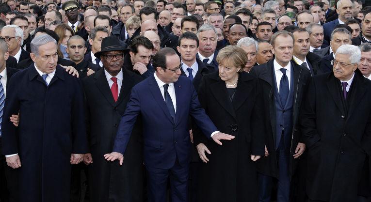 Политики на марше единства в Париже