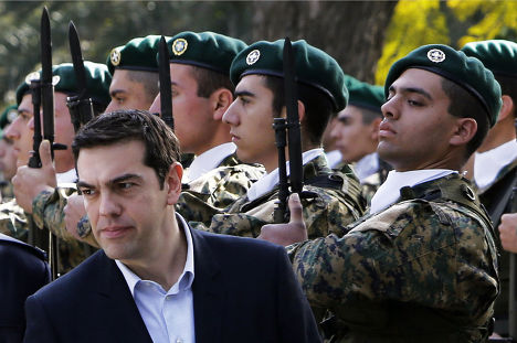 Премьер-министр Греции Алексис Ципрас во время визита на Кипр